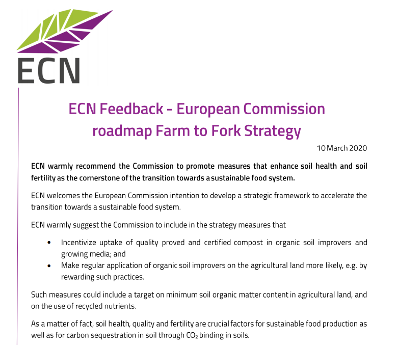 Ecn Feedback To Farm To Fork Strategy European Compost Network